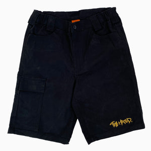 The Hated box logo super stretch slim chino shorts - black/off gold - The Hated Skateboards