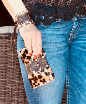 LV Logo Cowhide with Leopard Print Wristlet or Evelope Clutch Bag - Haute Mama