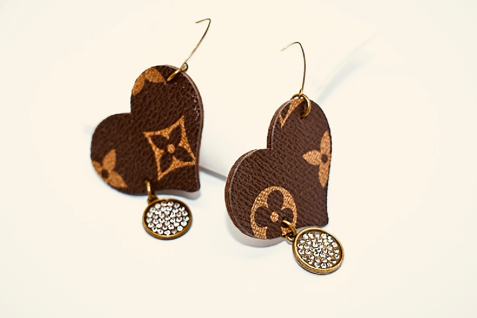 LV Heart with Rhinestone Dangle Earrings - Haute Mama