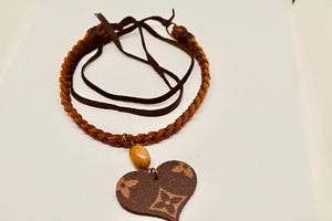 LV Heart and Braided Leather Choker Necklace - Haute Mama