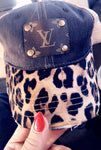 LV Distressed Leopard and Dark Blue Denim Baseball Cap (Unisex) - Haute Mama
