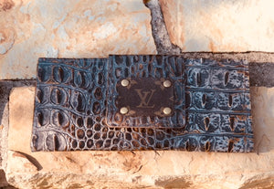LV Logo Embossed Leather Crocodile Print Clutch Bag - Haute Mama