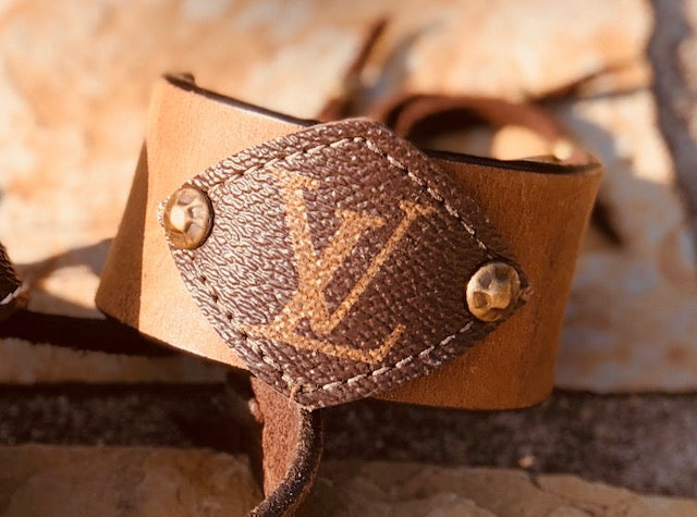 LV Monogram with Natural Colored Leather Cuff Bracelet - Haute Mama