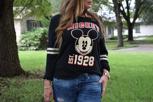 Woman wearing Vintage Mickey Mouse Sweatshirt