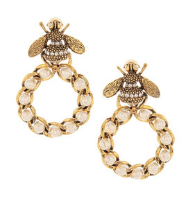 Gucci Inspired Bee Earrings with Crystals and Pearls