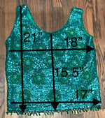 Vintage Green Beaded Party Top measurments