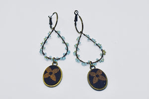 LV Dangle with Pale Blue Crystal Beading Earrings - Haute Mama