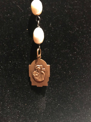 Fresh Water Pearls Adjustable Necklace with Virgin and Jesus Medallion