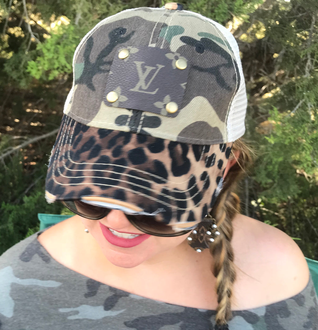 LV Distressed Leopard and Camo Baseball Cap (Unisex)