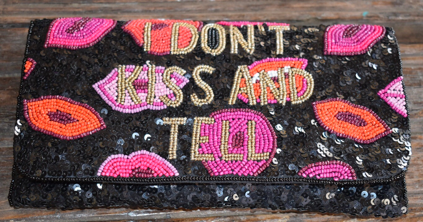 """I Don't Kiss and Tell"" Beaded Convertible Envelope Clutch - Haute Mama"
