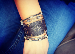 Cable Bracelet stacked with LV repurposed cuff bracelet