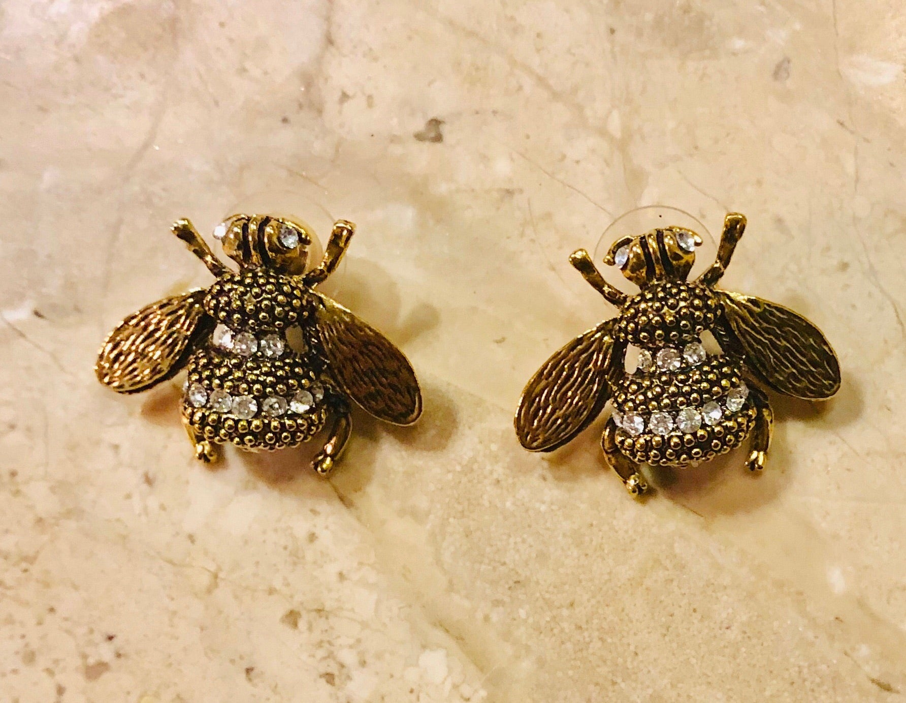 Gucci Inspired Bee Earrings with Crystals