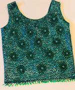 Vintage Green Beaded Party Top
