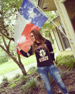 Woman wearing Vintage Mickey Mouse Sweatshirt with Texas Flag