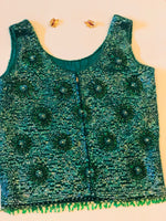 Vintage Green Beaded Party Top back