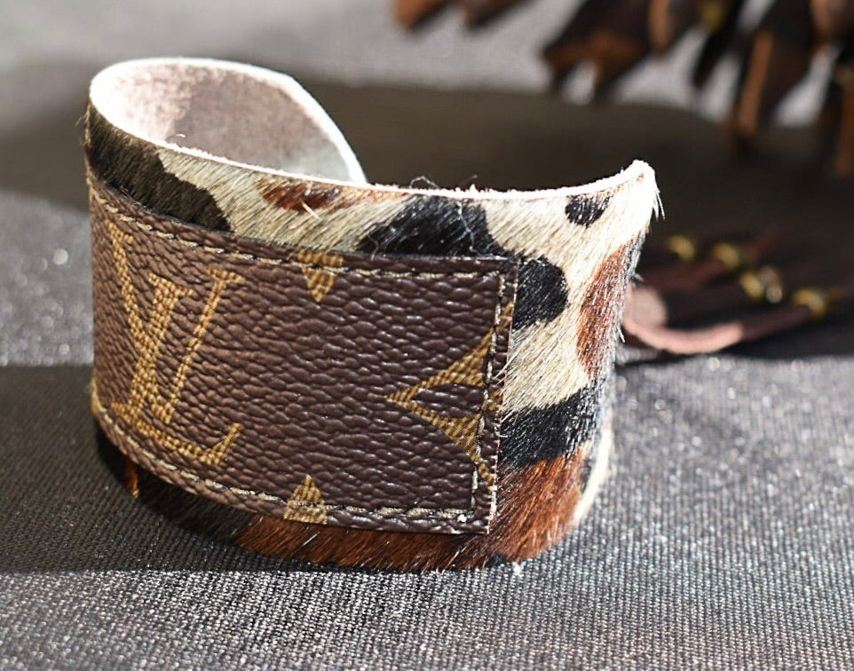 LV Monogram Cuff Bracelet with Cowhide