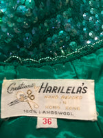 Vintage Green Beaded Party Top hand beaded Hong Kong