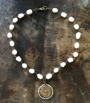 "Jeweled St. Christopher Medallion Necklace on 18"" Fresh Water Pearls"