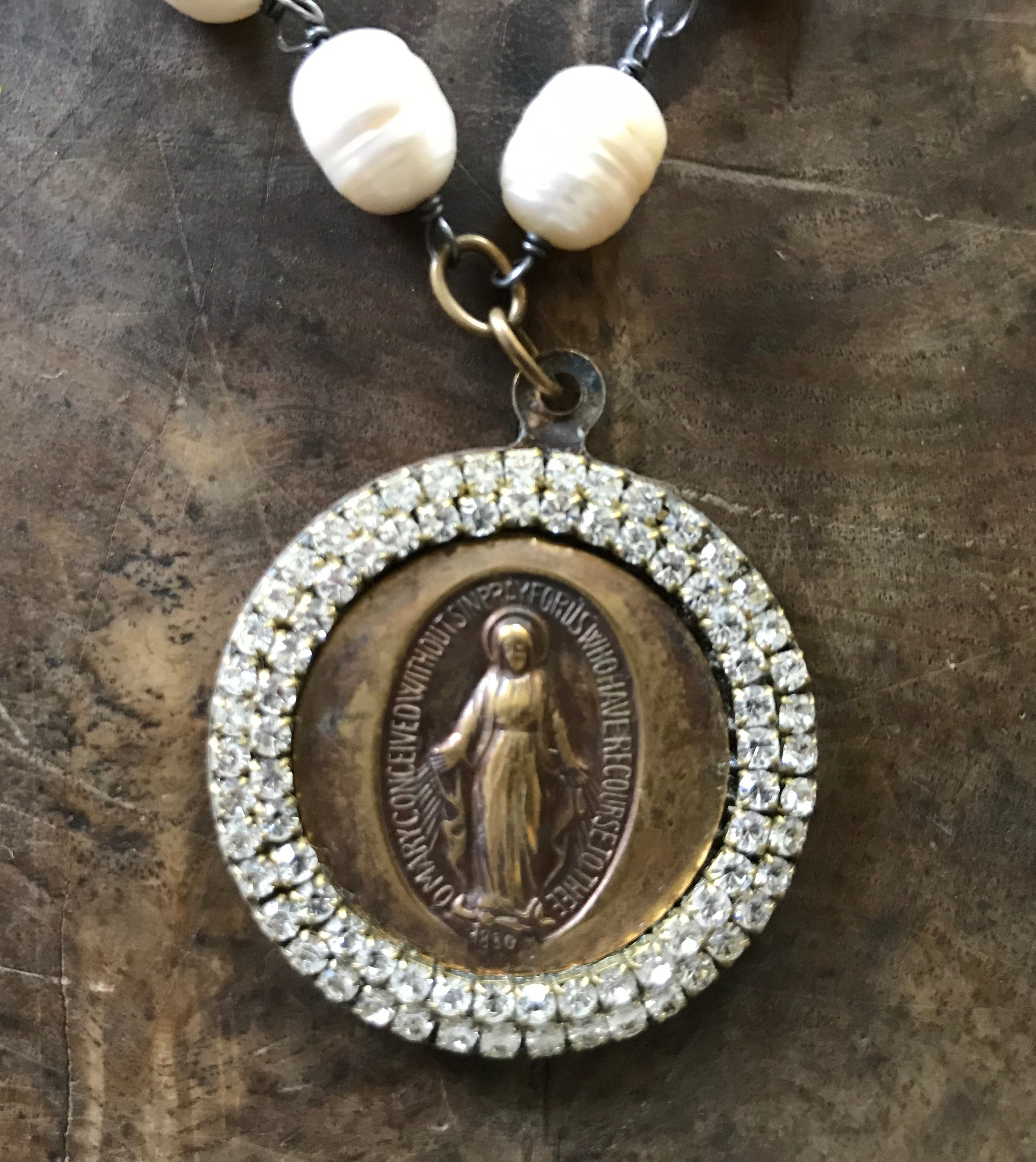 "Jeweled Madonna Medallion Necklace on 18"" Fresh Water Pearls"