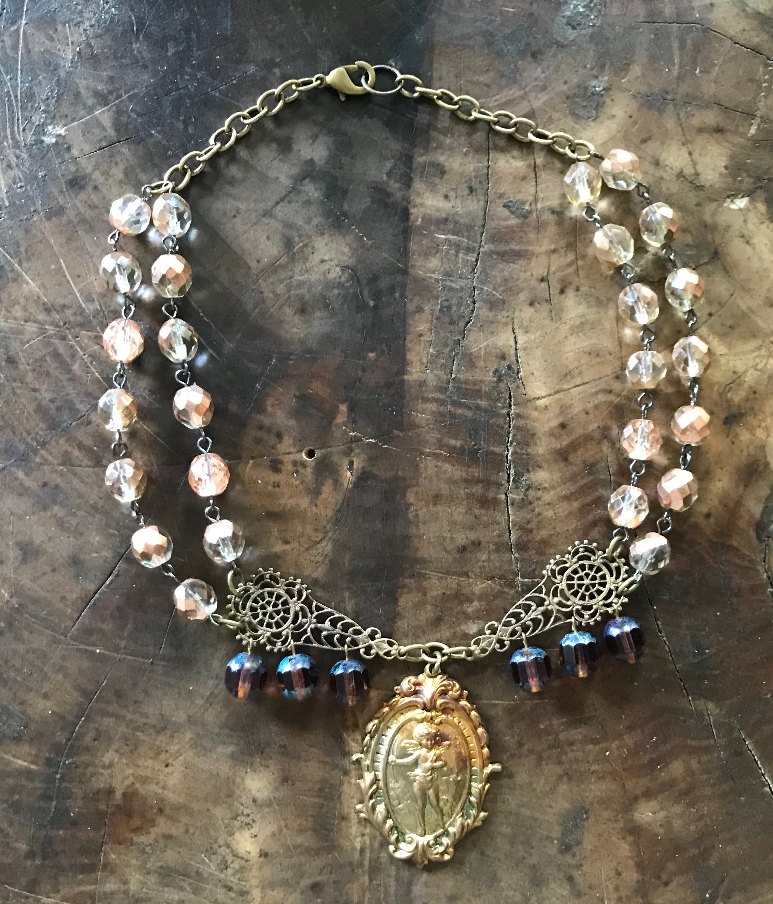 Double Strand Crystal Choker Necklace with Angel Medallion