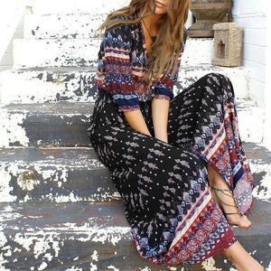 Long Maxi  Bohemian Three Quarter Sleeve Dress - Haute Mama