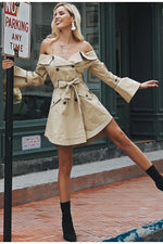Off Shoulder Trench Coat Dress