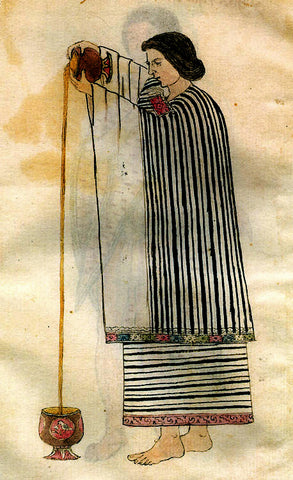 an ancient painting from the Incan or Mayan civilizations showing a person dressed in striped robes pouring a cacao drink from standing into a vessel sitting on the floor. the stream of the cacao drink can be seen falling into the vessel
