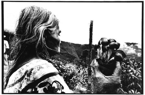 Black and white image of an elderly woman (on left) holding a bunch of mushrooms in her right hand. The background is of a valley with vegetation.