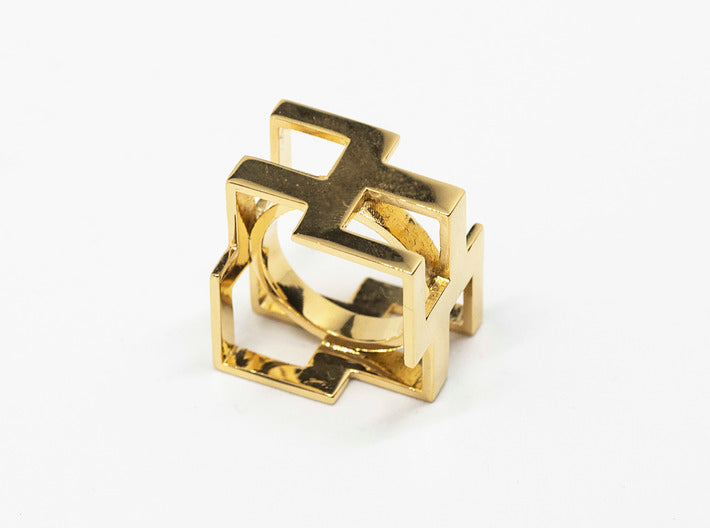 Design Cubic Ring 3d printed 18k Gold plated