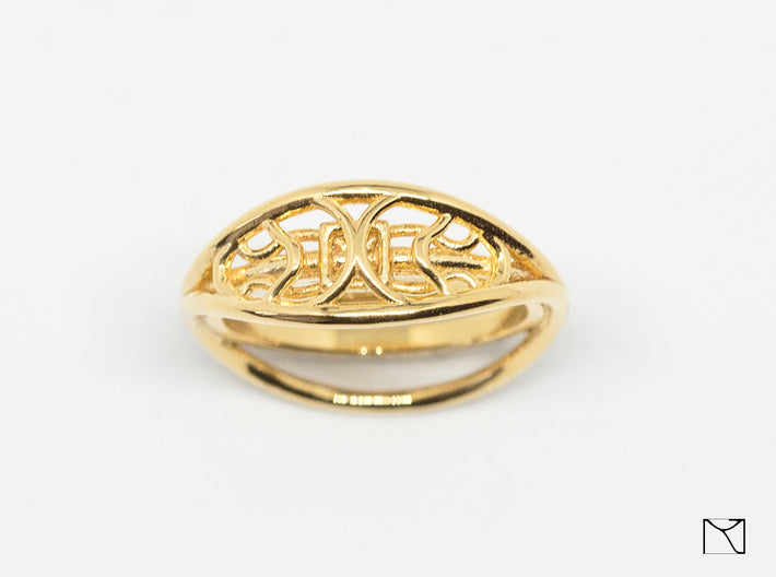 Ring two-sided 3d printed 18k gold plated