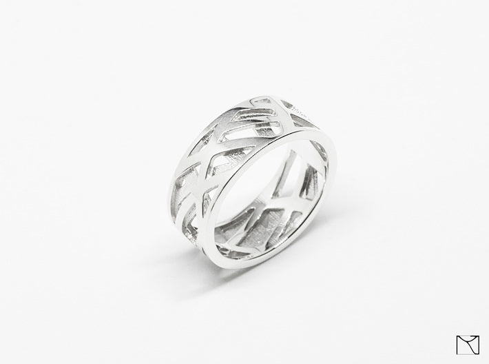 Double Sided Ring 3d printed Polished Silver