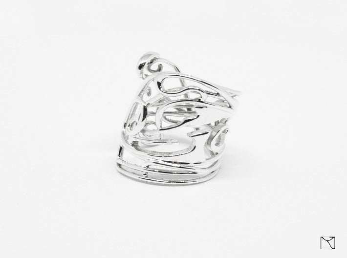 Ring Art déco Style 3d printed Polished Silver