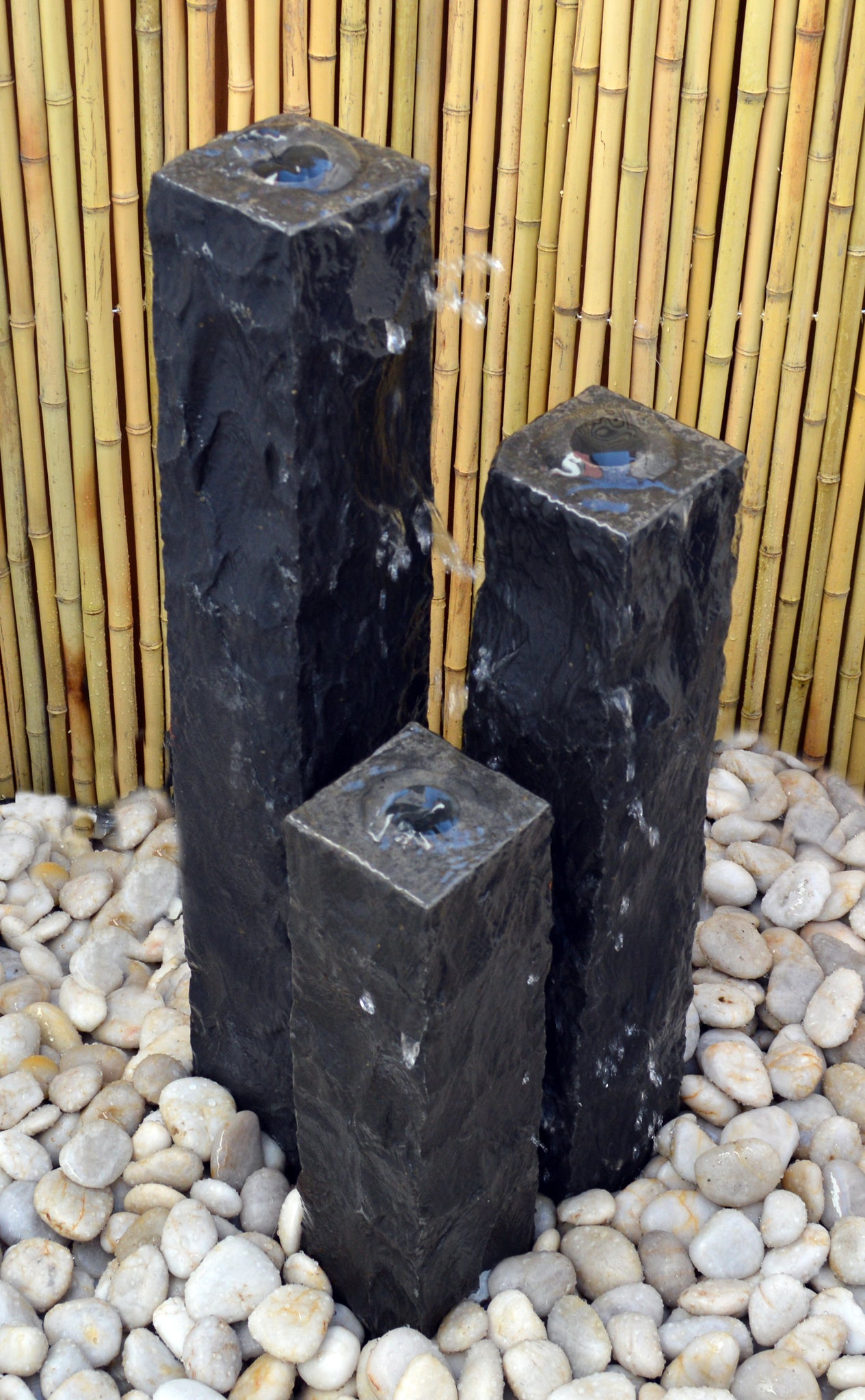 "Chiseled Basalt Fountain, 4"" Base"