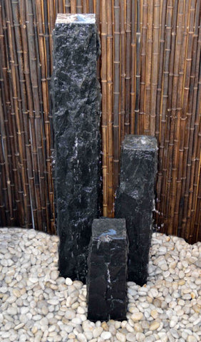 "Chiseled Basalt Fountain, 8"" Base"