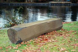 "Basalt Column Bench, ~18"" Tall x 20"" Deep, Natural Top"