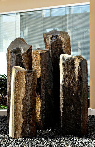 "Grand Coulee Basalt Column Fountain, ~20"" Wide"