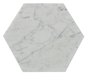 "10"" Carrara Marble Hex Tile"