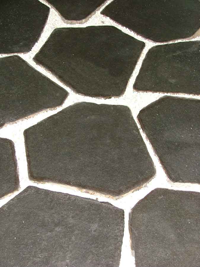 "Basalt Hex Pavers , 12-18"" Diameter, Flamed Finish"