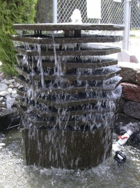 Custom Basalt Fountain - Multi-layered top