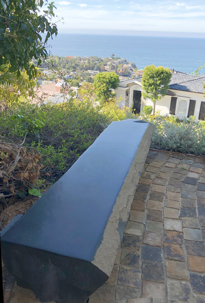 "Basalt Column Bench, ~18"" Tall x 20"" Deep, Polished Top"