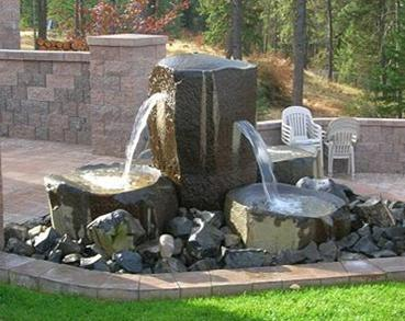 Custom Basalt Fountain - Quadruple Slot Fountain into Birdbaths