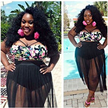 Floral Crop Top Black Sheer Long Skirt Beach Cover Ups