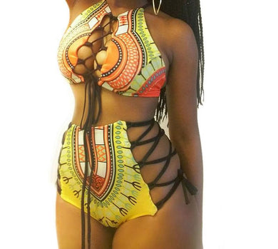 Bandage High Waist Swimsuit (S-3XL)