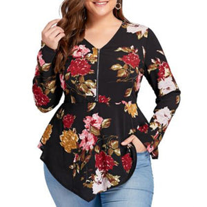 Floral V-Neck Tunic Blouse