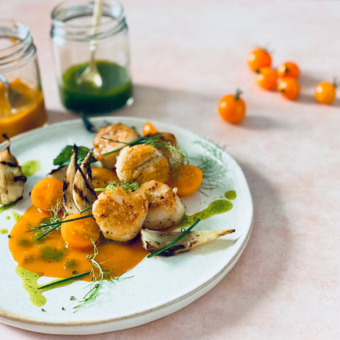 Seared Scallops with Fennel, Herbs, and Tomato Coulis