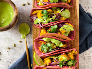 Roasted Cauliflower Beet Tacos with Serrano-Cilantro Tahini Crema