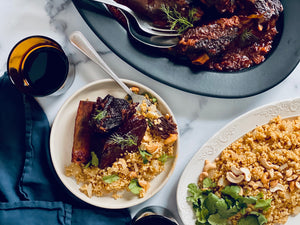 "Fall-Off-The-Bone Short Ribs with Cashew ""Couscous"""