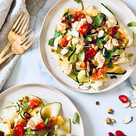 Zucchini and Summer Squash Carpaccio Salad With Almond Ricotta