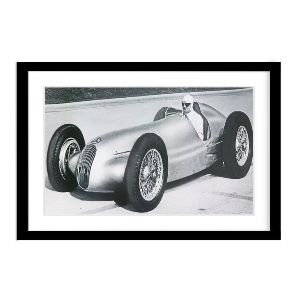 Vintage 1940s Mercedes-Benz 3-L Formula Race Car Framed Photo
