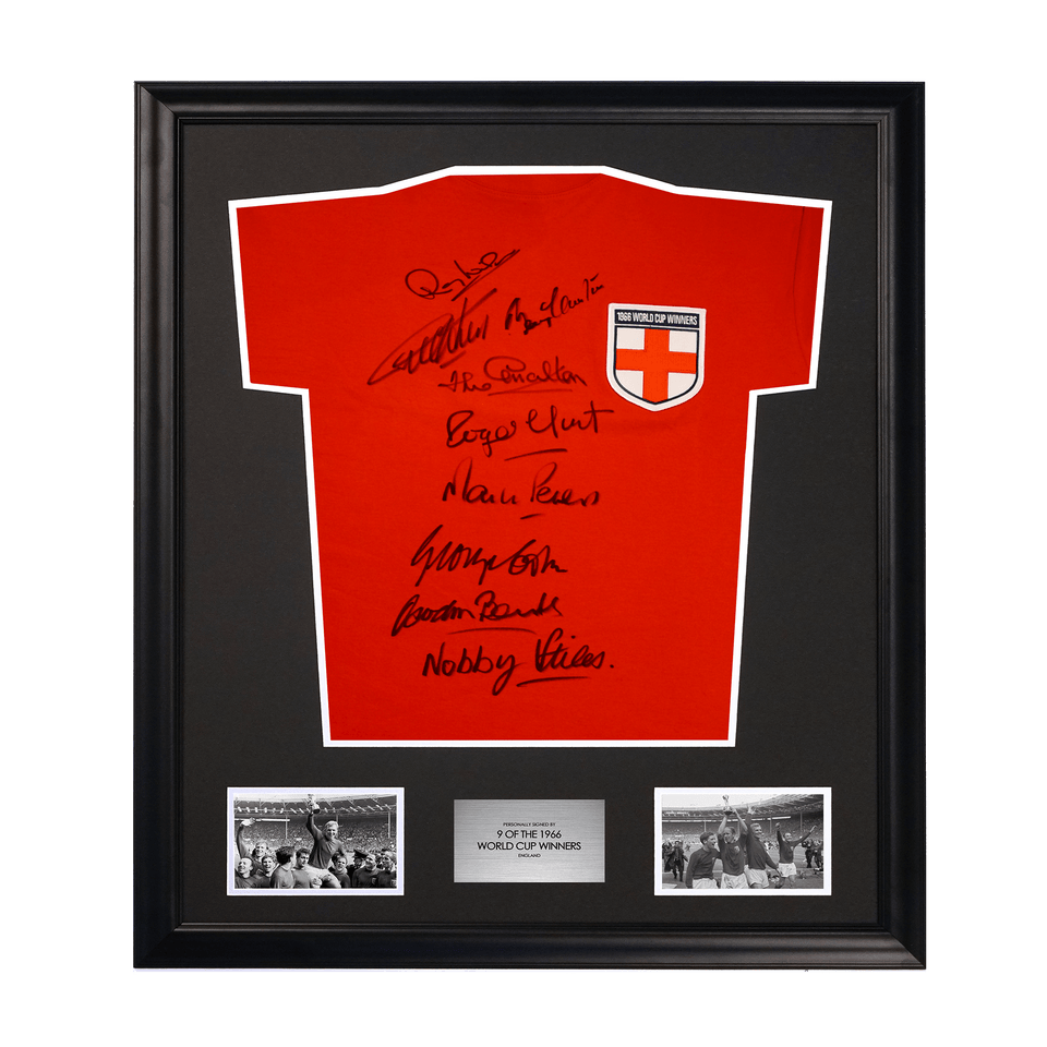 1966 World Cup St. George Cross Soccer Shirt Signed by 9 Players